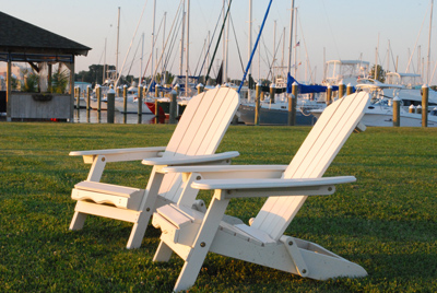 Adirondack chairs on the lawn at CYC