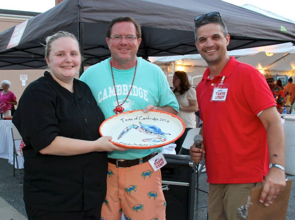 Chef Jessica accepts the award for Best Crabcake at the Taste of Cambridge, 2014